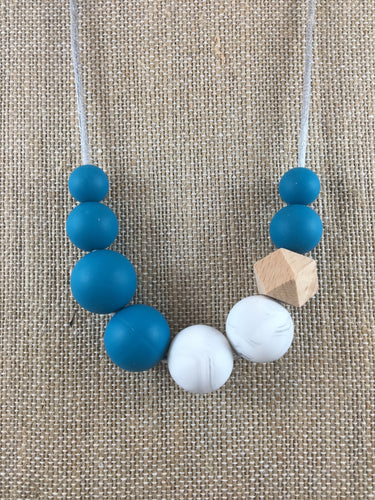 Marble + Deep Teal Necklace || Silicone Chewy Necklace for Women