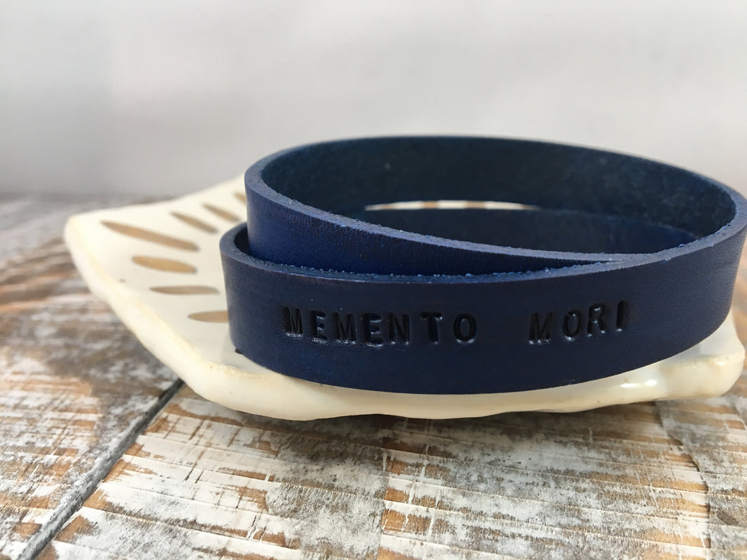 MEMENTO MORI : hand-stamped & dyed double-wrap leather cuff
