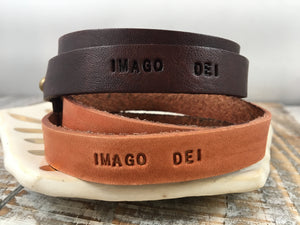IMAGO DEI : hand-stamped & dyed double-wrap leather cuff
