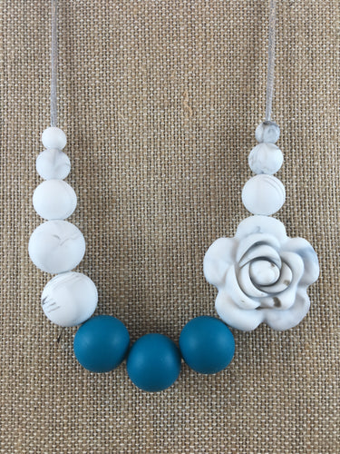 Marble Rose Necklace || Silicone Chewy Necklace for Women