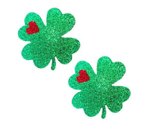 Kiss Me I'm Irish Green Glitter Clover Pasties