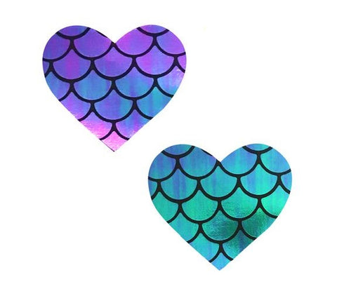 Mischievous Mermaid Iridescent Holographic I Heart U Pasties