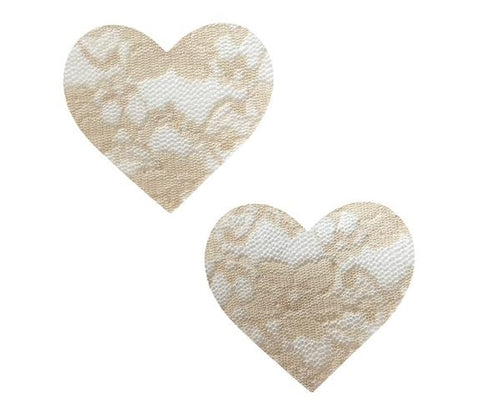 Nude Toffee Lace I Heart U Pasties