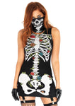 SKELETON GARTER DRESS AND FACE MASK