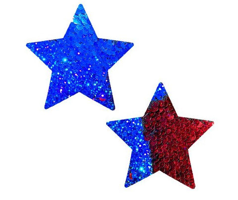 American Spirit Red Blue Flip Sequin Starry Nights Pasties