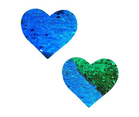 Go Seahawks Green Blue Flip Sequin I Heart U Pasties