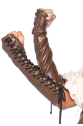 Faux Leather Lace Up Arm Warmers