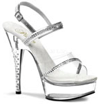 Pleaser Dia Silver Sandals