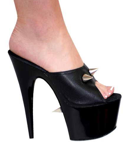 Karo Shoes 0254-7 Black Leather with Spikes