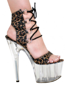 Karo Shoes 0454 - Leopard I.T. Glitter Clear