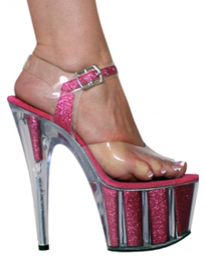 Karo Shoes 0968 Clear Hot Pink Glitter