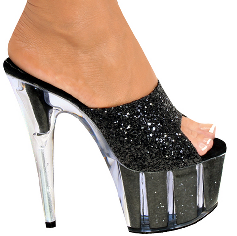 Karo Shoes 3158 Clear Black Glitter