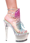 Karo Shoes 3346 Clear with Rainbow Franges