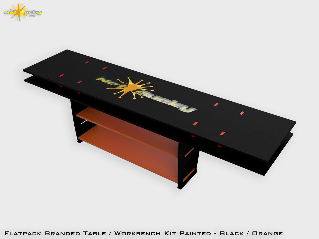 Flat Pack Table Workbench Painted - Black / Orange