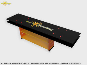 Flat Pack Table Workbench Painted - Orange / Marigold