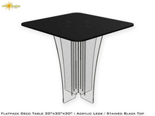 Load image into Gallery viewer, Flat Pack Deco Table : Acrylic Legs Stained Black Top