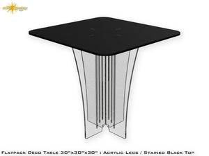 Flat Pack Deco Table : Acrylic Legs Stained Black Top