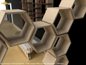 Flat Pack Honeycomb Hexagon Shelving Kit - Hexagon Shelves