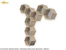 Load image into Gallery viewer, Flat Pack Honeycomb Shelving Kit - Hexagon Shelves - Perforated Metal Dividers