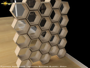 Flat Pack Honeycomb Shelving Kit - Hexagon Shelving Room Divider