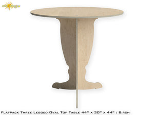 Flat Pack Tall Pedestal Oval Top Table Kit : Birch