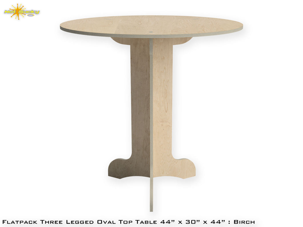 Flat Pack Tall Pedestal Table Kit : Market Table Oval Top Straight Legs : Birch