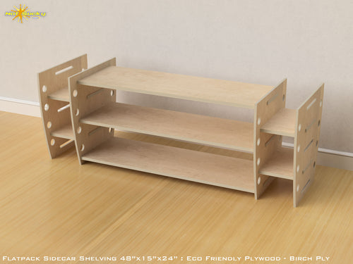 Flat Pack Retro Sidecar Shelving Kit - Veneer Plywood Birch
