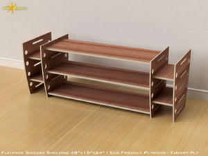 Flat Pack Retro Sidecar Shelving Kit - Veneer Plywood Cherry