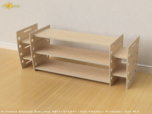 Flat Pack Retro Sidecar Shelving Kit - Veneer Oak