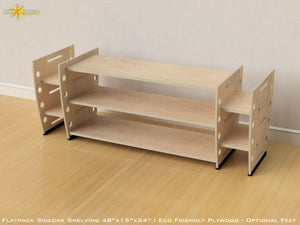 Flat Pack Retro Sidecar Shelving Kit - Optional Feet