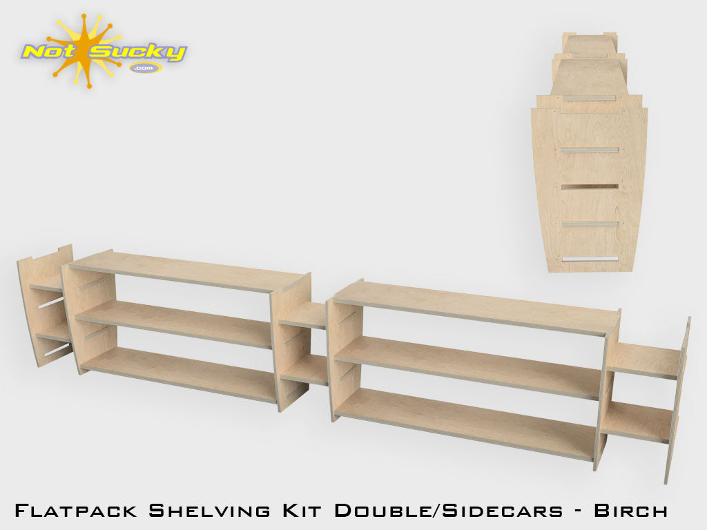 Shelving Kit Double with Sidecars : Birch