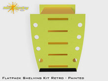 Load image into Gallery viewer, Flatpack Shelving Kit Single Retro Side with Feet Painted Lime / Marigold