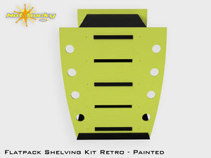 Flatpack Shelving Kit Single Retro Side with Feet Painted Lime / Black
