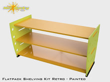 Load image into Gallery viewer, Flatpack Shelving Kit Single Retro with Feet Painted Lime / Marigold