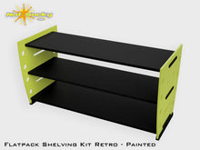Load image into Gallery viewer, Flatpack Shelving Kit Single Retro Side with Feet Painted Lime / Black