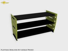 Load image into Gallery viewer, Flatpack Shelving Kit Single Retro Painted Lime / Black