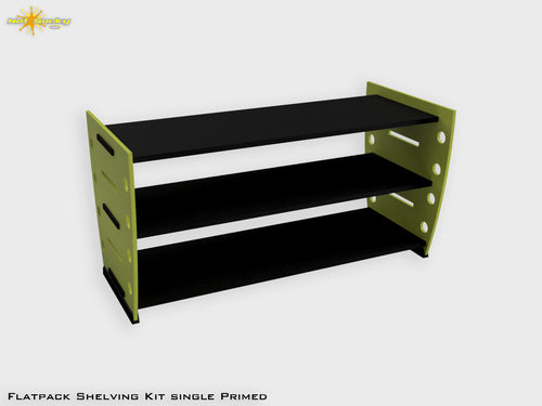 Flatpack Shelving Kit Single Retro Painted Lime / Black