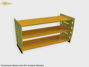 Flatpack Shelving Kit Single Retro Painted Lime / Marigold