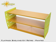 Load image into Gallery viewer, Flatpack Shelving Kit Single Retro Painted Lime / Marigold