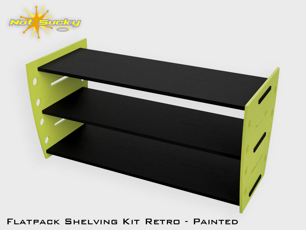Flatpack Shelving Kit Single Retro Side Painted Lime / Black