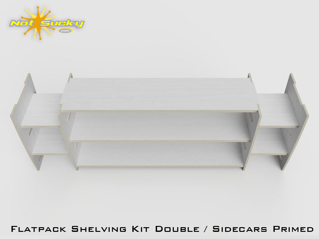Flat Pack Shelving Kit Single with Sidecars : Primed