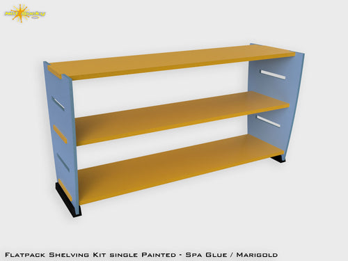 Flatpack Shelving Kit Single Painted Spa Blue / Black