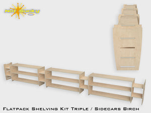 Shelving Kit Triple with Sidecars : Birch