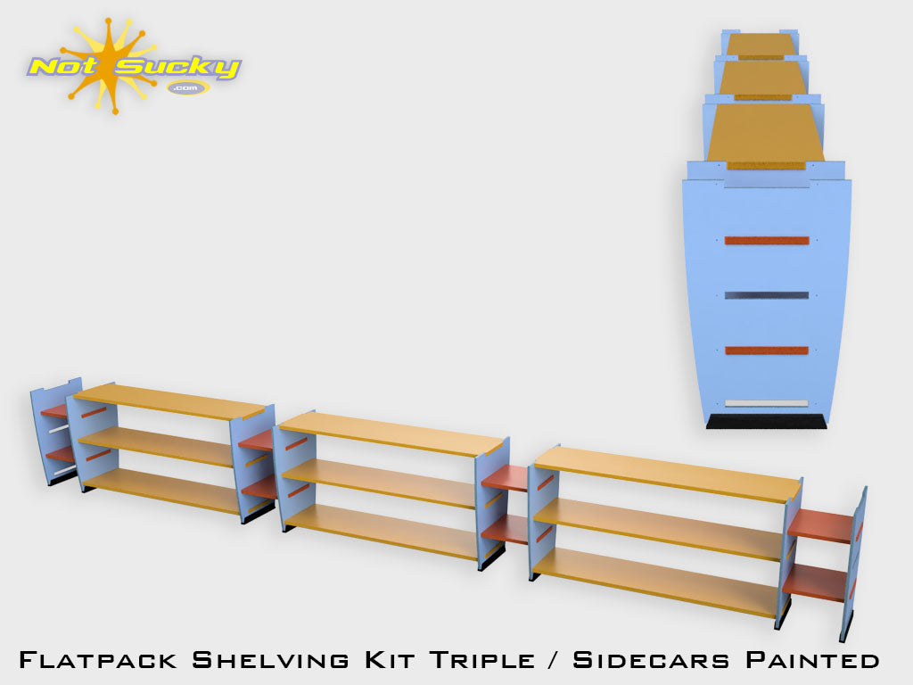 Shelving Kit Triple with Sidecars : Painted
