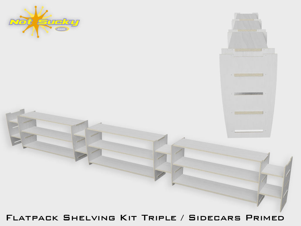 Shelving Kit Triple with Sidecars : Primed