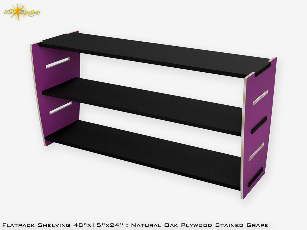 Flat Pack Stained Plywood Shelving Kit Grape