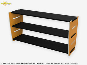Flat Pack Stained Plywood Shelving Kit Orange