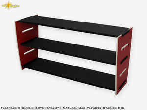Flat Pack Stained Plywood Shelving Kit Red