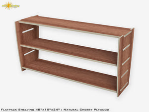Flat Pack Plywood Shelving Kit Cherry