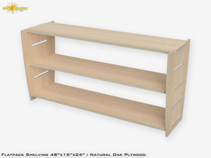 Flat Pack Plywood Shelving Kit Oak